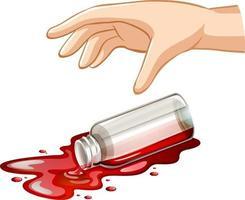 bouteille en verre à la main pour l'expérience de gravité