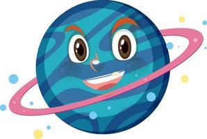 Personnage de dessin animé de Saturne avec une expression de visage heureux sur fond blanc vecteur
