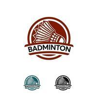 badminton sport logo conçoit un modèle de badge, illustration vectorielle de sport abstrait insigne vecteur
