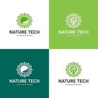 ensemble de modèle de logo tech nature, concept de logo technologie verte, technologie de croissance, symbole de logo arbre tech vecteur