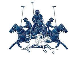 Groupe de chevaux de polo et de joueurs poses d'action vecteur