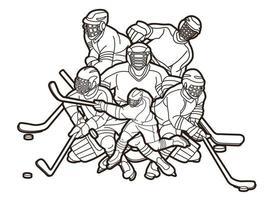 Contour de joueurs de hockey sur glace vecteur