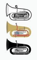 Instrument de musique d'orchestre tuba vecteur