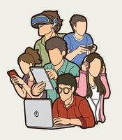 personnes utilisant la conception de la technologie des appareils numériques vecteur