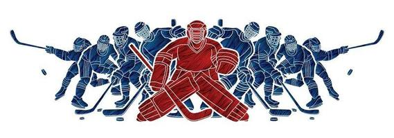 groupe de joueurs de hockey sur glace vecteur