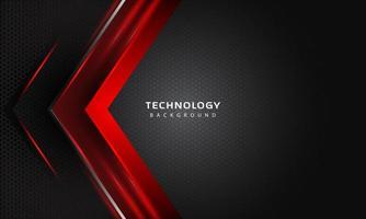 Effet de couches de chevauchement 3D avec décoration lumineuse de couleur rouge. modèle de conception de technologie moderne. vecteur