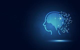 Circuit numérique humain bleu futuriste et micropuce dans le cerveau comme intelligence artificielle ou robotique IA vecteur