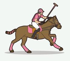 polo cheval et joueur action pose vecteur
