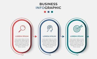 modèle infographie entreprise minimale. chronologie avec 3 étapes, options et icônes marketing vecteur
