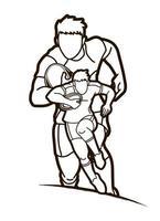 contours de joueurs masculins de rugby vecteur
