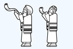 hommes juifs soufflant la corne de shofar vecteur