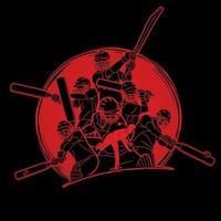Groupe de poses d'action de joueurs de cricket vecteur