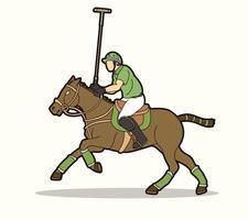 polo cheval et joueur sport action pose vecteur