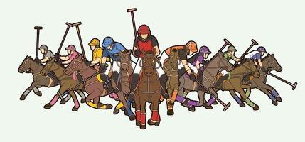 chevaux de polo et poses de joueurs vecteur