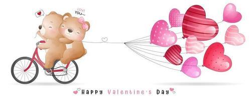 ours mignon doodle pour la collection de la saint valentin