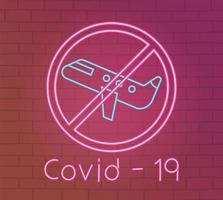 néon avec icône de prévention des coronavirus