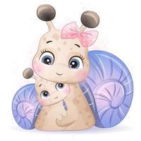 mignon petit escargot avec illustration aquarelle vecteur