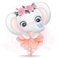 mignon petit éléphant avec illustration de ballerine vecteur