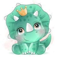 mignon petit dinosaure avec illustration aquarelle vecteur