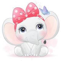 mignon petit éléphant avec illustration aquarelle vecteur
