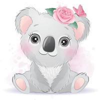 mignon petit koala avec illustration aquarelle vecteur