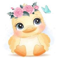 mignon petit oiseau avec illustration aquarelle vecteur
