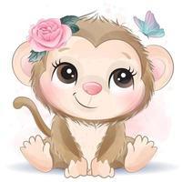 mignon petit singe avec illustration aquarelle vecteur