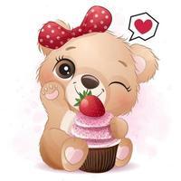 mignon petit ours avec illustration de cupcake aux fraises vecteur