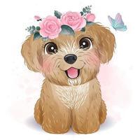 mignon petit caniche avec illustration florale vecteur