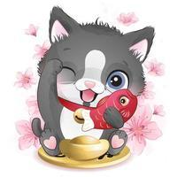 jolie petite illustration de chat porte-bonheur
