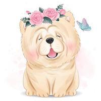mignon petit chien avec illustration florale vecteur