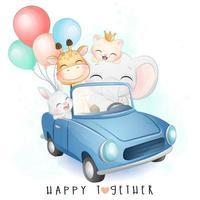 mignons petits animaux conduisant une voiture avec illustration aquarelle vecteur