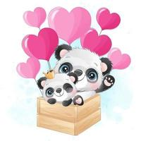 mignon petit panda avec illustration aquarelle