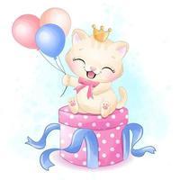 mignon petit chaton assis dans l'illustration de la boîte cadeau