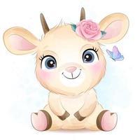jolie petite chèvre avec illustration aquarelle vecteur