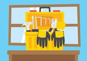 Boîte à outils ouverte sur la table vecteur