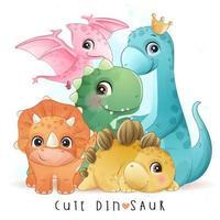 dinosaure mignon avec illustration aquarelle vecteur