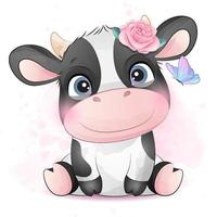 jolie petite vache avec illustration aquarelle vecteur