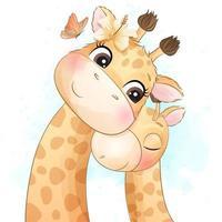 illustration mignonne petite mère et bébé girafe vecteur