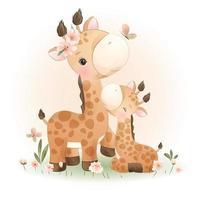 girafe de griffonnage mignon avec illustration florale vecteur