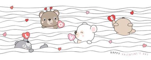ours mignon doodle pour illustration de la saint valentin vecteur
