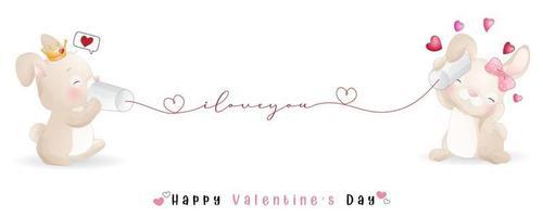 mignon lapin doodle pour la collection de la saint valentin vecteur