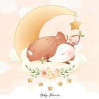 cerf mignon doodle avec illustration florale vecteur