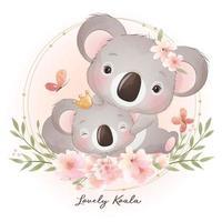 ours koala doodle mignon avec illustration florale vecteur