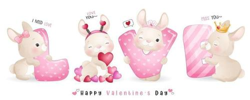 mignon lapin doodle pour la collection de la saint valentin vecteur