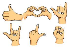 Ensemble de vecteur de gestes de main dessinés à la main