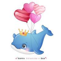 mignon doodle dauphin pour la saint valentin
