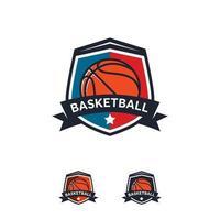 conceptions d'insigne de logo de basket-ball, emblème de logo de basket-ball, modèles vectoriels