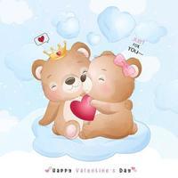 ours mignon doodle pour la saint valentin
