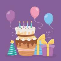 joyeux anniversaire, gâteau avec bougies, cadeaux, chapeau et fête de décoration de ballons